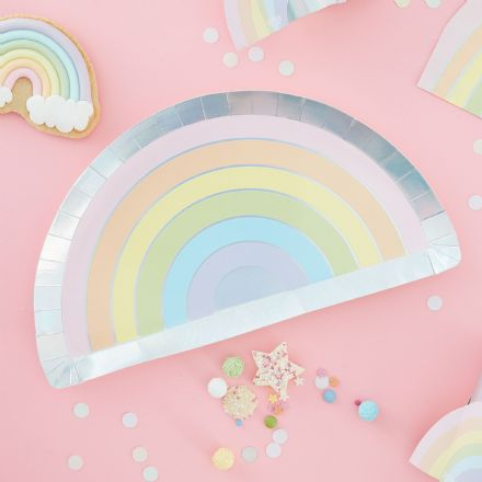 Pastel Rainbow Shaped Paper Plates